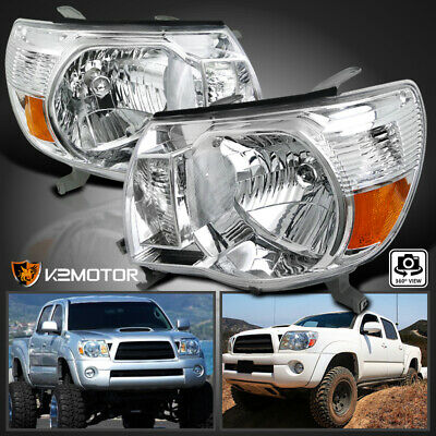 For 05-11 Toyota Tacoma Clear Crystal Headlights Chrome Head Lamps Left+Right