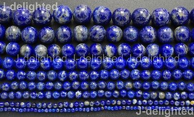 Natural Lapis Lazuli Gemstone Round Beads 2mm 3mm 4mm 5mm 6mm 8mm 10mm 12mm 16''