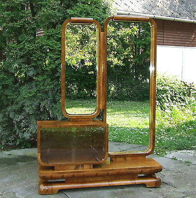 Art Deco Dressing Table 1920s Walnut Vintage. Full Length Mirror. FREE Delivery.