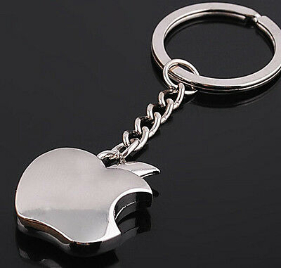 FD1174 Cute Silver Polish Bite Apple Metal Keychain Keyring Keyfob Car Keyring