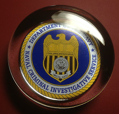 Naval Criminal In. Service `dept. Of The Navy` Glass Paperweight `ncis`