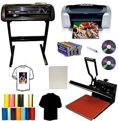 "15x15 Heat Press,24"" 1000g All METAL Cutter Plotter,Printer,Cartridges,PU Vinyl"