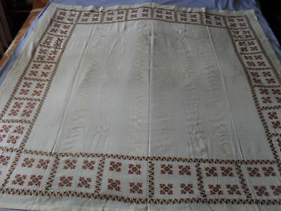 Gorgeous Vintage Hand-Woven Silk Hand-Embroidered Tablecloth