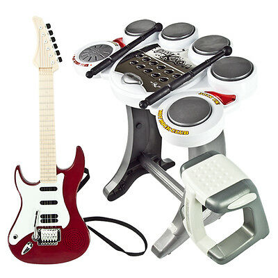 Musical Instrument Electronic Drum Set Red Guitar Rock Band Toy Pad Kids Boy