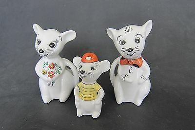 German handpainted porcelain Mouse Family-mom,dad and son/daughter