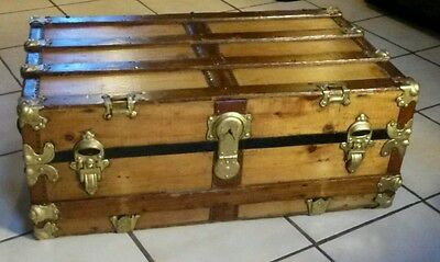 1800's Antique Victorian Low Profile Steamer Trunk Chest with Working Lock & Key