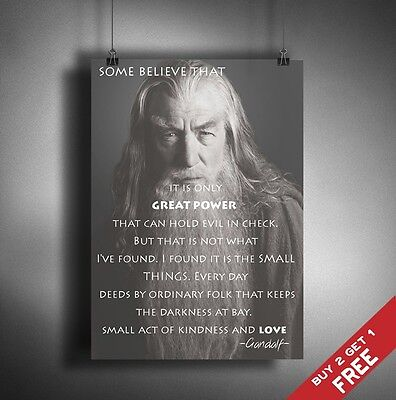A3 / A4 POSTER * GANDALF HOBBIT MOVIE QUOTE PRINT Modern Typography Wall Art