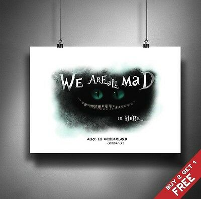 A3 / A4 Poster * Alice In Wonderland Cheshire Cat We Are All Mad Here Print Art
