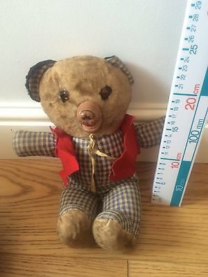 VINTAGE TEDDY Press Stomach And Mouth OPENs AND CLOSEs