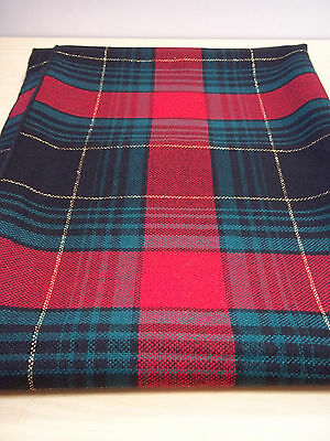 Vintage Holiday Christmas Table Cloth Red, Green, Gold Metallic Woven Plaid