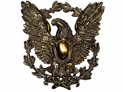 Antique Bronze Brass Cast FEDERAL EAGLE Door Knob Stop Wall PLATE American RARE