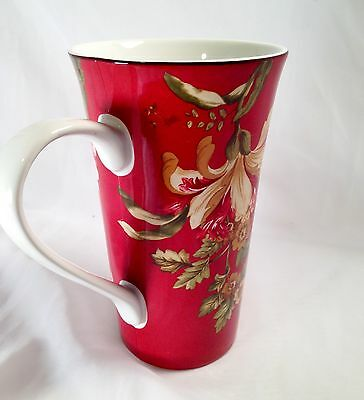 222 Fifth Fleur Rouge Red Tall Latte/Tea Cup Mug Floral Excellent Used Condition