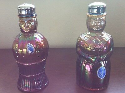 "IMPERIAL CARNIVAL GLASS SALT & PEPPER SHAKERS - Maid and Butler Figures 5.5"" VTG"