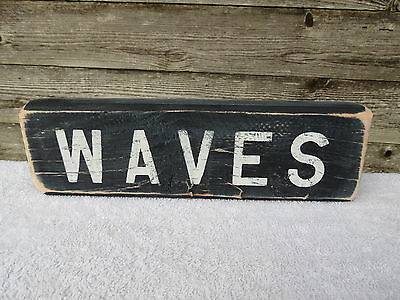 12 Inch Wood Hand Painted Waves Sign Nautical Seafood (#s554)