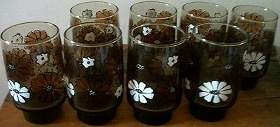 8 Fanciful Mod Retro Flowered Brown Glasses by Libbey