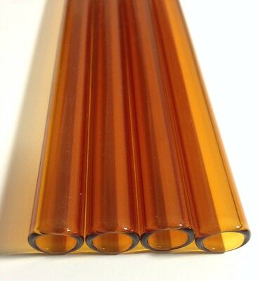 "Pyrex Glass Blowing Colored Tubing (4) Pces Amber  12 mm (O,D) 2 mm thick   8"" L"