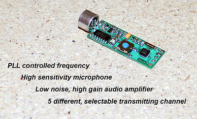FM transmitter wireless microphone spy bug hidden PLL CONTOLLED ***NEW***