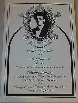 Titanic Collectable-Commemorative Programme-Unveiling Wallace Hartley's Plaque