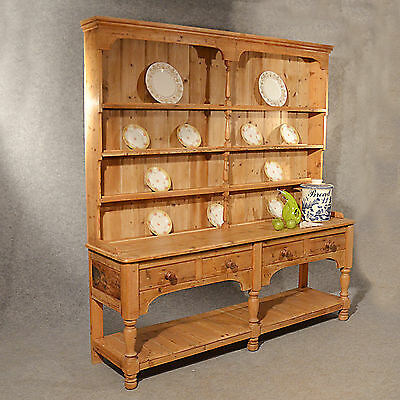 Antique Large Victorian Pine Dresser Welsh Country Kitchen Display Rack c1900