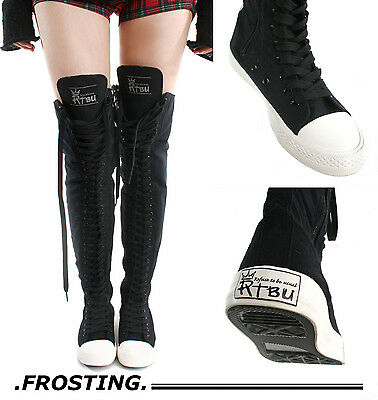 RTBU Frosting 35 Hole Punk Thigh Hi Black Canvas Lace Up Sneaker Trainer Runway
