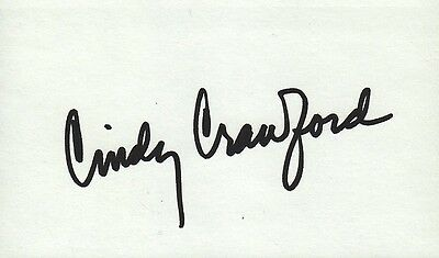 CINDY CRAWFORD Autographed 3x5 Index Card Model Vogue People Magazine Playboy