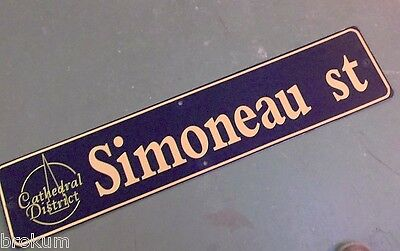 "Vintage SIMONEAU ST Cathedral District Street Sign 42"" X 9"" -GOLD on NAVY Ground"