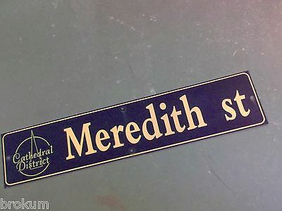 "Vintage MEREDITH ST Cathedral District Street Sign 42"" X 9"" -GOLD on NAVY Ground"