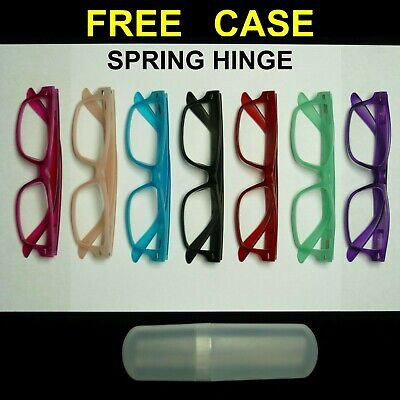 Reading glasses metal tube with hard case clear spring hinge strength power new