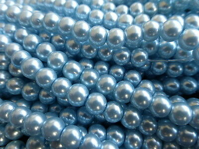1 Strand (140 Beads) x 6mm Light Blue Glass Pearl Beads Faux Imitation Pearls