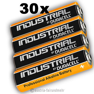 30x MIGNON AA LR6 MN1500 Batterie DURACELL INDUSTRIAL Folie