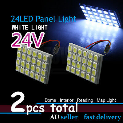 2x Car Auto 24V 24SMD LED Interior Reading Map Light T10 BA9S Dome Roof Ceiling