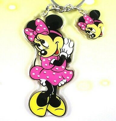 FD906 Cute Cartoon Keychain Keyring Key chain ring charm ~Pink Bow Minnie x1pc:)