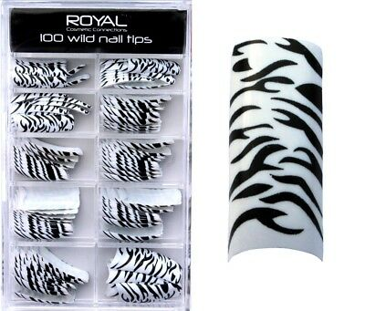 100 Faux ongles - blanc & noir animal de Royal - 100 false nails animal print