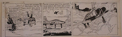 GEORGE WUNDER original strip art, TERRY, 7x23, 1970, Jet,Helicopter,Signed,dated