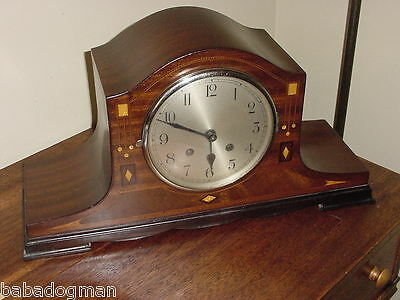 MANTEL CLOCK - WOOD & Mother of Pearl INLAYS, early 20th Century Chimes, Wind-Up