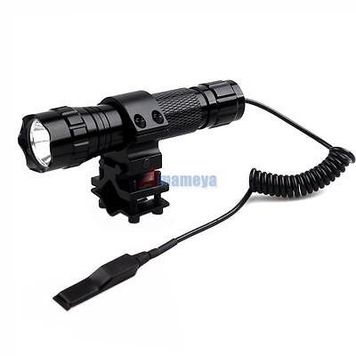 1000LM CREE Tactical Rifle T6 LED Flashlight Torch+Remote Switch+Barrel Mount US
