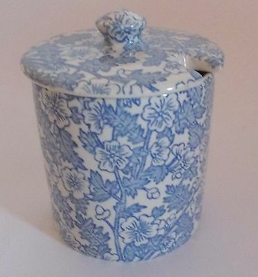 Burleigh Earthenware Burgess Chintz Blue & White China Covered Sugar/Jam Pot