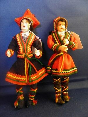 "Pair Vintage International ethnic cultural dolls Norway 9"" plastic (153)"