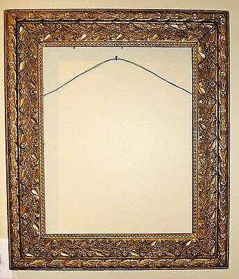 Spectacular Antique LARGE wide DETAILED border ornate GOLD LEAF wood frame