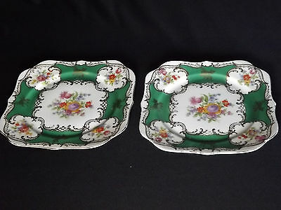 """Pair Antique Omeco of Czechoslovakia - 22 Carat Gold design 7-3/4"""" Square Plate"""