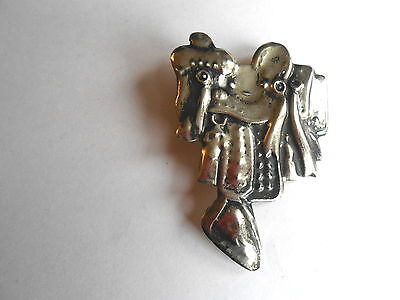 Cool Vintage Detailed Country Western Horse Saddle Tin Pinback Brooch Pin