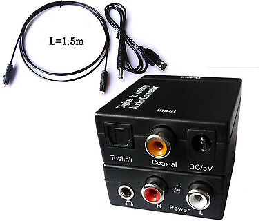 AU USB Digital Optical Coax Coaxial Toslink to Analog  Audio Converter Adapter