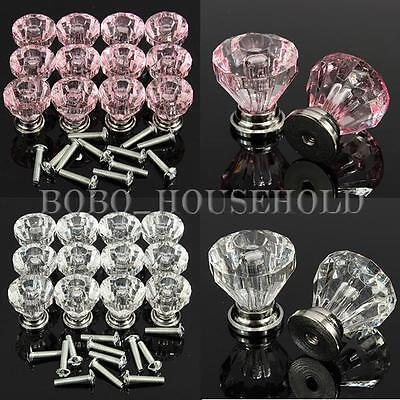 12PCS 25mm Diamond Shape Crystal Glass Cupboard Drawer Pull Handle Cabinet Knob