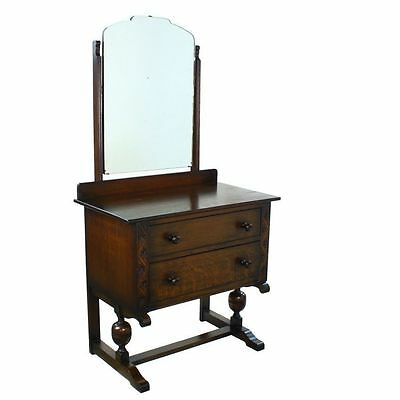 Art Deco Period Solid Oak Two Drawer Dressing Vanity Table & Mirror