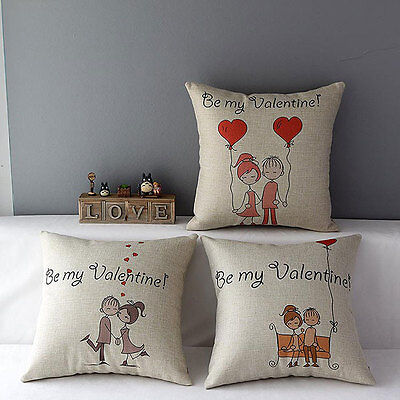 Lovers Couples Kiss Sweet Date Throw Pillow Case Decor Cushion Cover Valentines