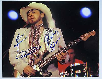 DOUBLE TROUBLE Signed Autograph 11x14 Photo by 3 Members - Stevie Ray Vaughan