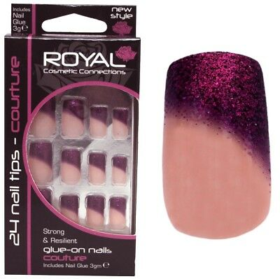 24 Faux ongles & colle de Royal  -  rose foncé pailletté - glitter false nails