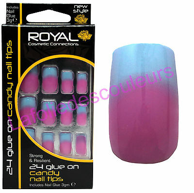 24 Faux ongles & colle Candy de Royal bleu et rose - blue & pink  false nails