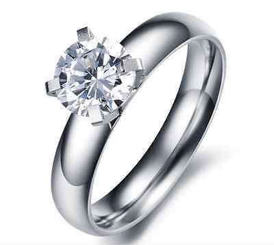 Stainless Steel 316L Round CZ Cut Solitaire Engagement Ring Wedding Band
