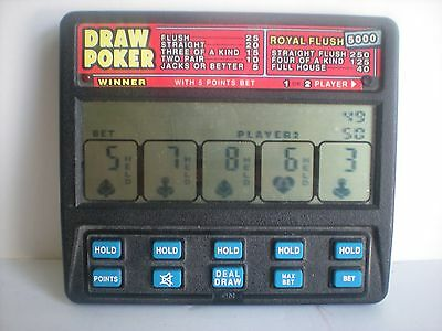 Radica Draw Poker 5000 Large Screen 1-2 players Model 1410 Retro Handheld
